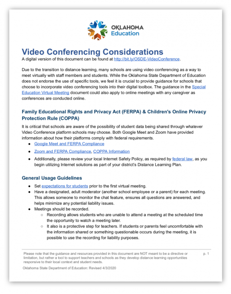 Image of video conferencing guidance document