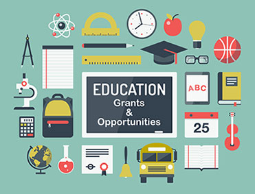 Education Grants and Opportunities poster with educational items