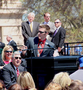 Oklahoma Teacher of the Year Jason Proctor at Capitol teacher rally