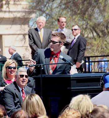 Oklahoma Teacher of the Year Jason Proctor at Capitol teacher rally