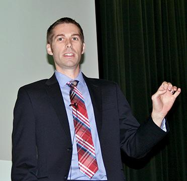 Jason Proctor, Oklahoma Teacher of the Year, speaking to NSU grads