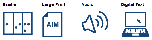 Types of AIM Braille, Large Print, Audio, Digital Text