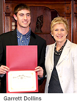 Garrett Dollins and State Superintendent Janet Barresi