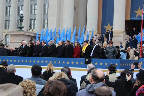 State Superintendent Joy Hofmeister joins other state officers at the 2015 Oklahoma inauguration ceremony