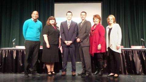 OKTOY Jason Proctor with 2014 National Teacher of the Year Sean McComb and fellow Oklahoma teachers at NSU.