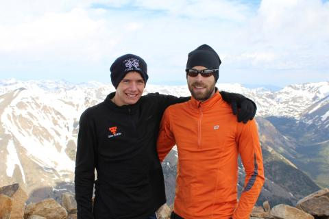 Oklahoma Teacher of the Year Jason Proctor on the summit of the tallest mountain in Colorado with his student in 2011.