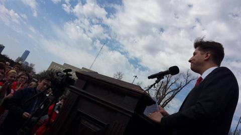 Oklahoma Teacher of the Year Peter Markes speaks at the March 31 teacher rally.